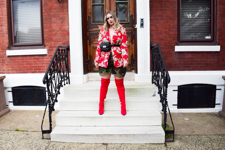 Mixing Prints: Floral Blazer & Camo Shorts