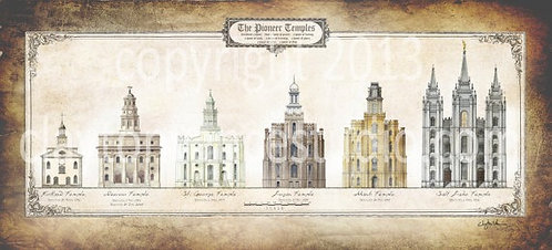 LDS Pioneer Temple Series. Mounted 22x10 giclee print  by artist Clayton Vance.