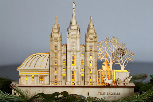 Temple Square Small Natural Wood Schwibbogen