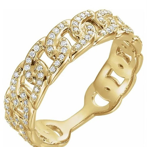 14K Yellow 1/4 CTW Diamond Stackable Chain Link Ring