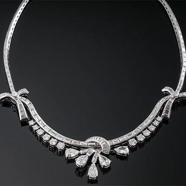 "Pear, Round and Baguette Diamond Necklace  Platinum (15"", 2.3-26mm)  D=18.00ct app   NK39979"