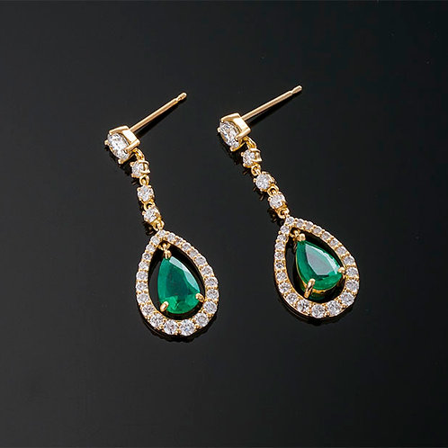 Pear Shape Emerald and Diamond Dangle Earrings