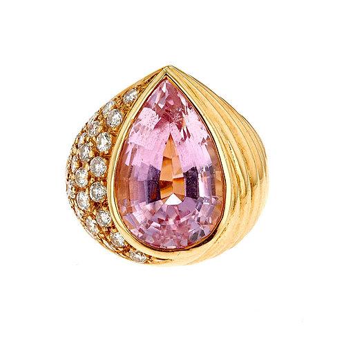 Pear Shape Kunzite and Pave Diamond Ring