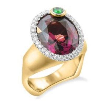 Rhodolite Garnet and Tsavorite Ring