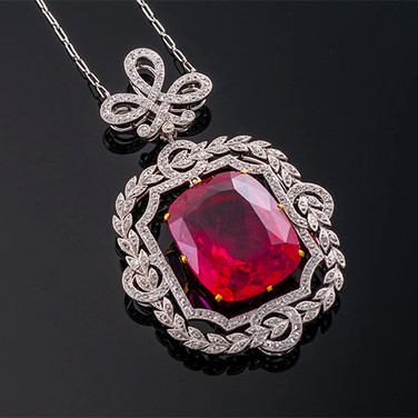 Antique Cushion Cut Rubellite Tourmaline and Diamond Necklace  Plat & YG  T=25.81cts + D=1.50cts app   NK40525