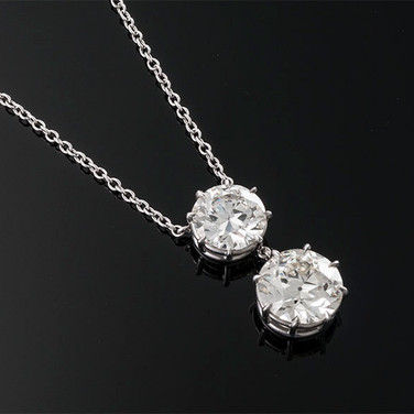 """Old European Cut Diamond Pendant and Chain  Platinum (18"""", 25 x 12.5mm)  1D=4.60cts + 1D=3.15cts   PD40811"""