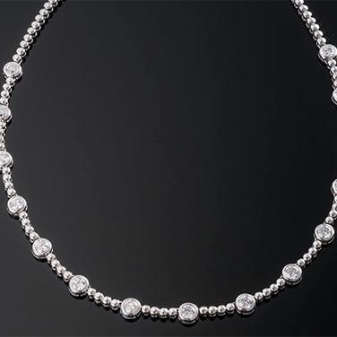 "Bezel Set Round Diamond Necklace  14K WG (16"" , 4.0-6.3mm)  15D=6.00cts app   NK40124"
