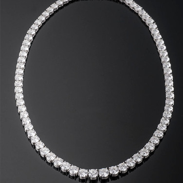 "Graduated Round Diamond Necklace  Platinum (16.5"", 5.0-6.5mm)  77D=41.61cts (3-GIA)   NK40824"