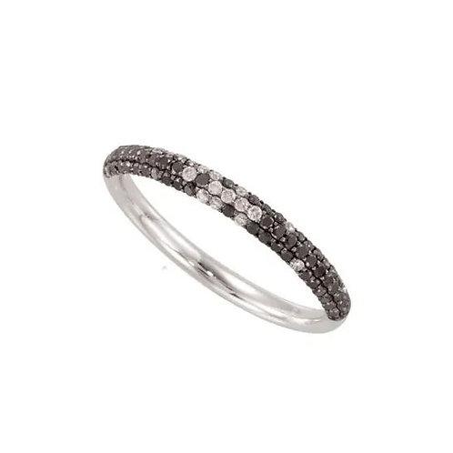 14K White Black Rhodium-Plated 3/8 CTW Black & White Diamond Micro Pavé Ring