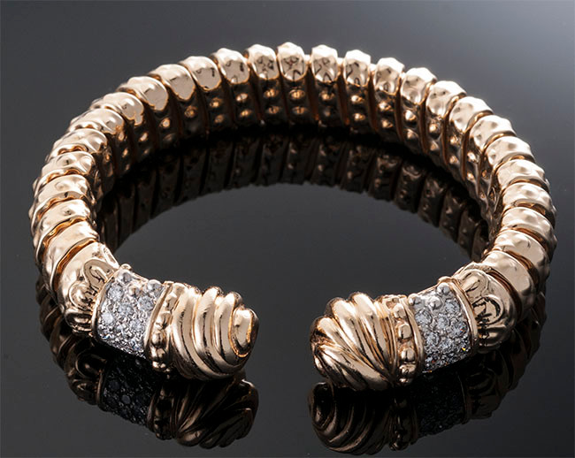 Gold and Diamond Cuff Bracelet  14K YG (70 x 13mm)  D=1.55cts app   BR40587   $4,500