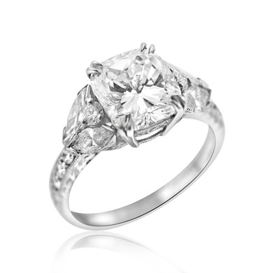 Cushion Cut and Marquise Diamond Engagement Ring  3.27 carat Cushion cut Diamond with .68 carats of Marquise Diamonds, and another .42 carats of Diamonds, set in Platinum