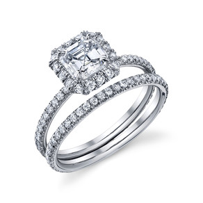 Ascher Cut Halo Mounting Hand made with 73 scalloped pave set melee Diamonds totaling in .56 carats and set in Platinum, this classic square halo engagement ring is waiting for us to find your perfect center stone.