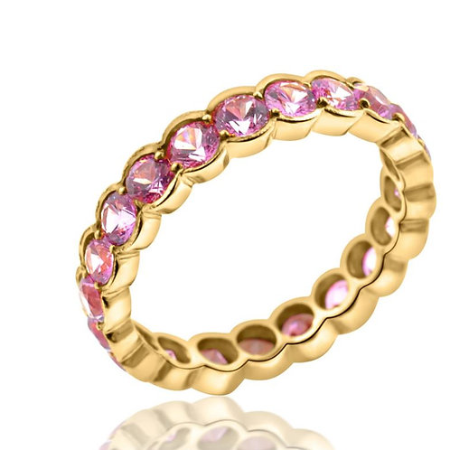 Pink Sapphire and Rose Gold Eternity Band