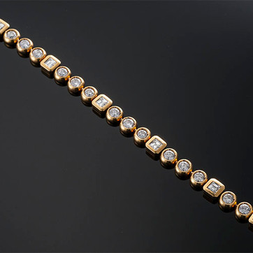 "Chantecler Bezel Set Diamond Bracelet  18K YG (7"" x 8mm)  Other  D=11.00cts app   BR40583"