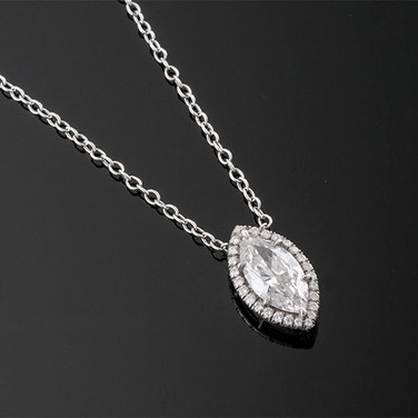 """Marquise Diamond Pendant and Chain  Platinum (16"""", 14 x 8mm)  D=1.12cts + D=0.40cts   PD40786"""