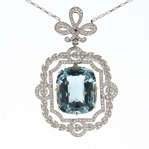 Antique Cushion Cut Aquamarine and Diamond Necklace
