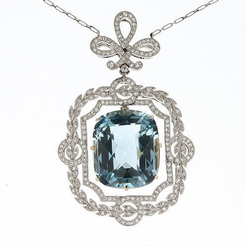 Antique Cushion Cut Aquamarine and Diamond Necklace