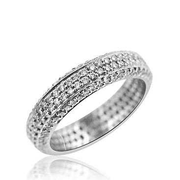 4-Row Micro-Pave Diamond Eternity Band  1.42 carats of micro pave set Diamonds, in a Platinum 900 eternity band ring.