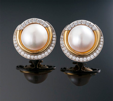 Cartier Mabe Pearl and Diamond Earrings  18K & Plat (26 x 26mm)  Cartier  D=1.50cts app   ER40425