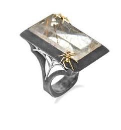 Rutilated Quartz Spider Ring