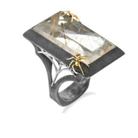 Rutilated Quartz Spider Ring a product