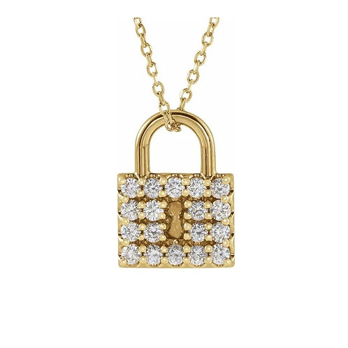 "14K Yellow 1/2 CTW Diamond Lock 16-18"" Necklace"