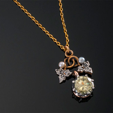 Antique Fancy Yellow Diamond Pendant and Chain  15K YG & Plat (21 x 14mm)  D=1.96cts NFY SI2 (GIA)   PD39496