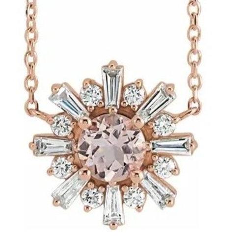 "Tourma14K Rose Morganite & 1/2 CTW Diamond Starburst 18"" Necklace"