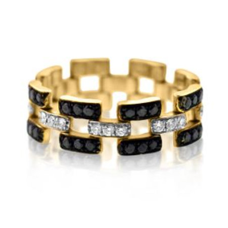 Black and White Diamond Chain Ring