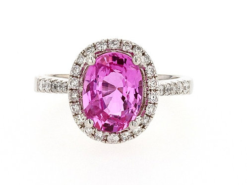 Pink Madagascar Sapphire and Diamond Ring