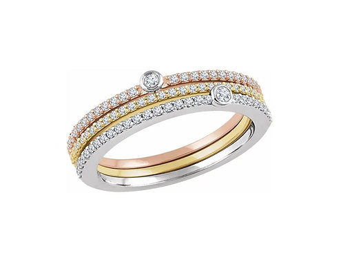14K White/Yellow/Rose 3/8 CTW Diamond Stackable Rings
