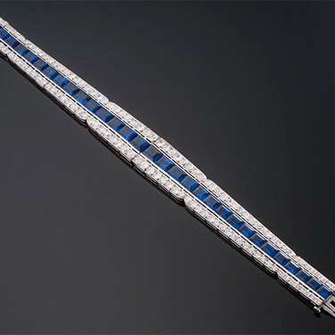 "Art Deco No Heat Sapphire and Diamond Bracelet  Platinum (7"", 9.8-14.6mm)  S=25.00cts app (AGL-Palin) + D=12.00cts app   BR40662"