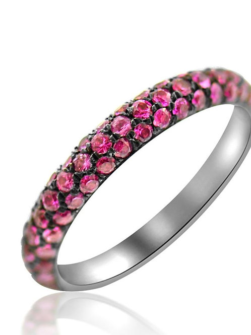 Pink Sapphire and Black Rhodiumed Ring
