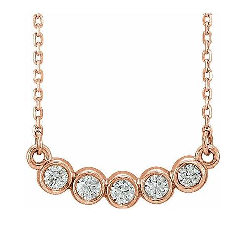 "14K Rose 1/3 CTW Diamond Bezel-Set 16-18"" Necklace"