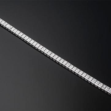 """Emerald Cut Diamond Channel Set Line Bracelet  Platinum (7.75"""" x 5.3mm)  53D=17.16cts   BR40829"""