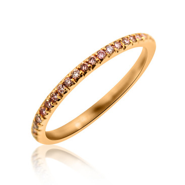 Pink Diamond and Rose Gold Eternity Band Ring  .38 carats of Round French Cut Pink Diamonds, set in 18k Rose Gold.