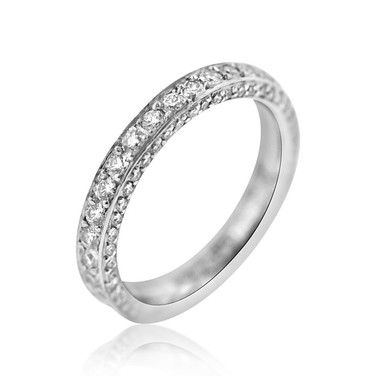 Tri-Side Diamond Eternity Band  .86 carats of Diamonds, set on three sides in a Platinum eternity band ring.