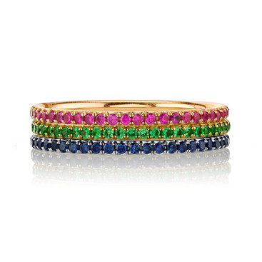 Micro Eternity Band Rings  Add a colorful micro eternity band to any engagement ring for a fresh update.  Eternity bands sold seperatly.   Size: 5.5