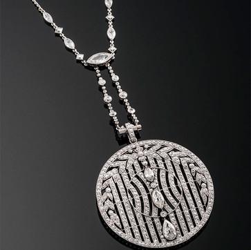 Art Deco Circular Diamond Pendant on Diamond Chain  Platinum (47 x 47mm)  D=7.50cts app   NK40292