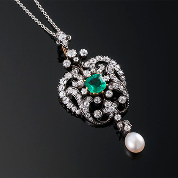 Victorian Emerald, Diamond and Pearl Pendant on Chain  Silver & YG (53 x 24mm)  E=0.90cts app + D=1.75cts app   PD40216