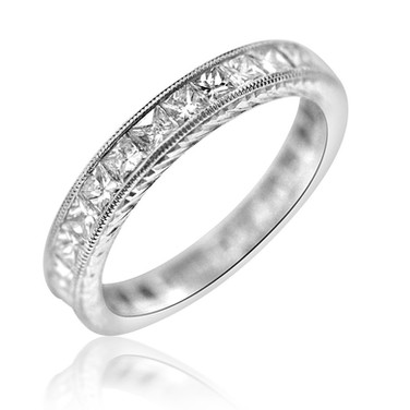 Square Diamond Eternity Band 6,200.00 1.9 carats of square channel set Diamonds, set in Platinum 900, featuring hand engraving.