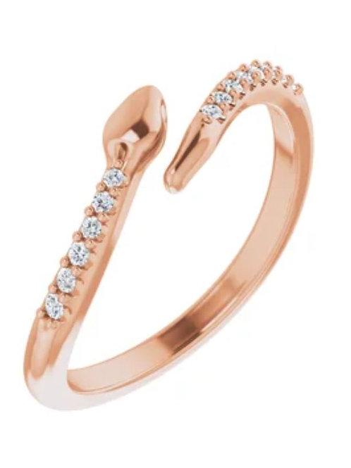 14K Rose .08 CTW Diamond Snake Bypass Ring