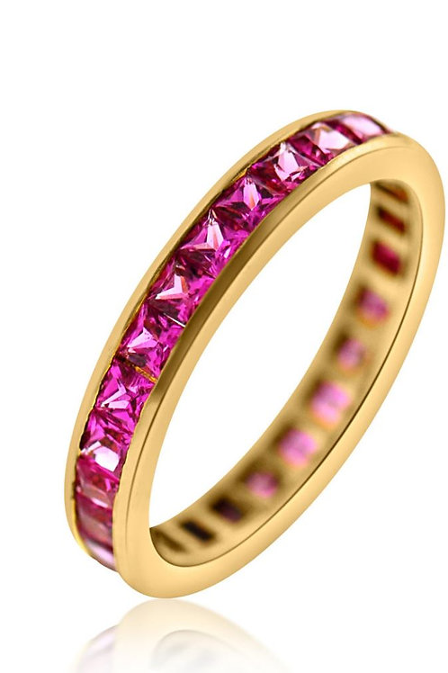 Pink Sapphire and Rose Gold Band