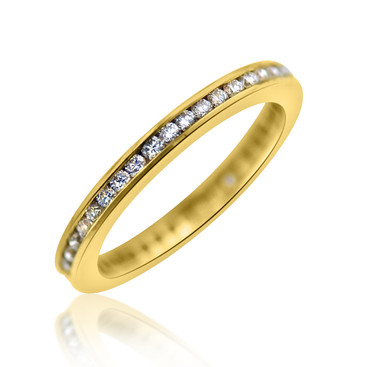 Channel Set Diamond Eternity Band in Yellow Gold  0.63 carats of Diamonds, channel set in an 18k yellow gold eternity band ring.