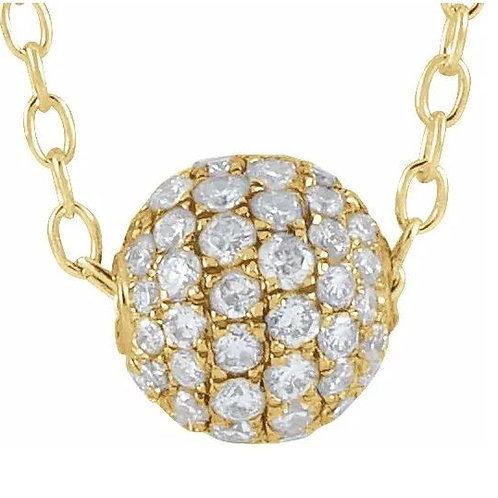 "Mult14K Yellow 3/8 CTW Diamond Pavé 6 mm Ball 16-18"" Necklace"