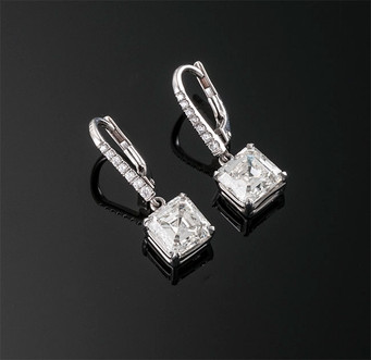 Asscher Cut Diamond Drop Earrings  18K WG (22 x 7.4mm)  D=2.04cts K VVS2 (GIA) + D=2.02cts K VVS2 (GIA) + D=0.08cts app   ER40788