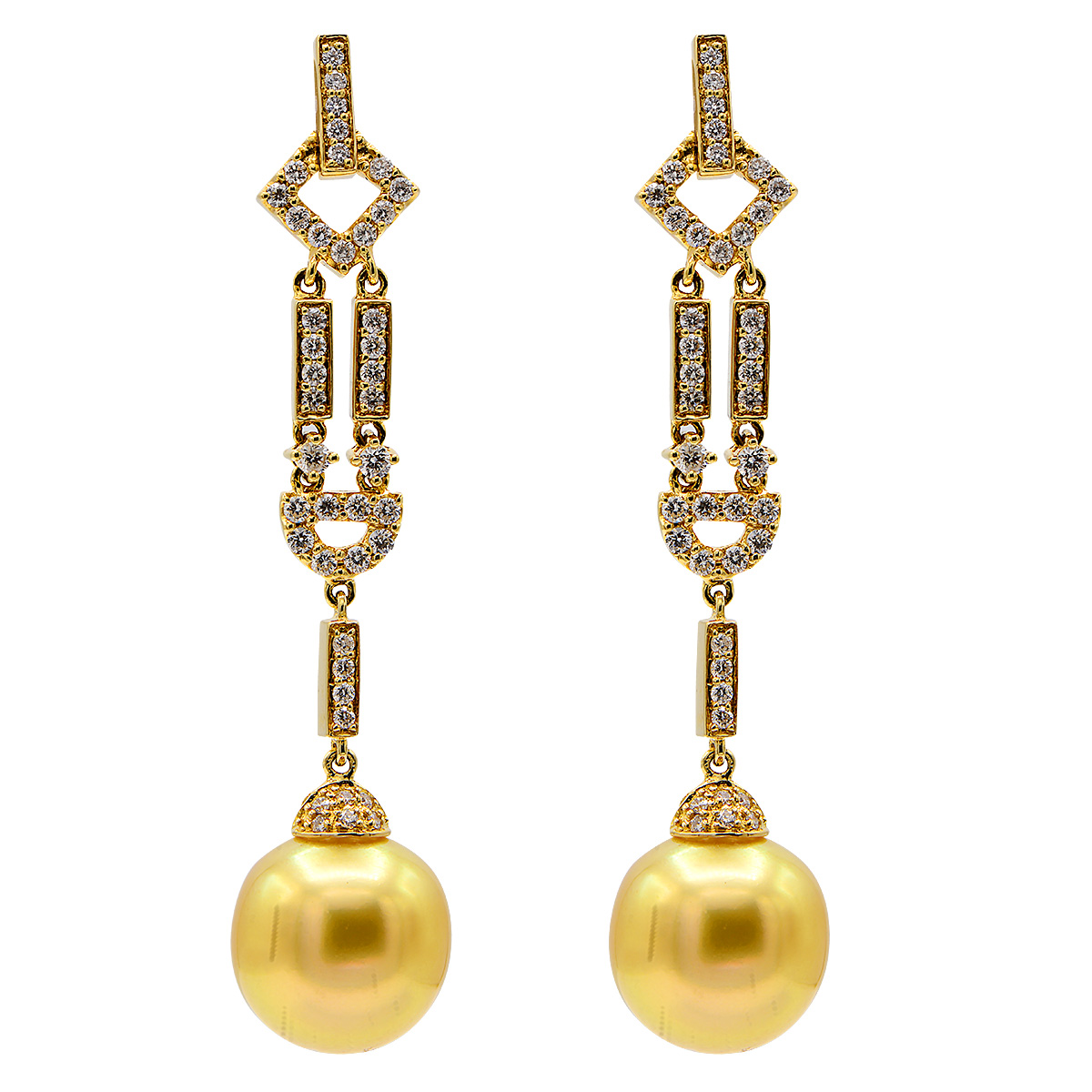 18KY GOLDEN SOUTH SEA PEARL EARRINGS, 12-13MM