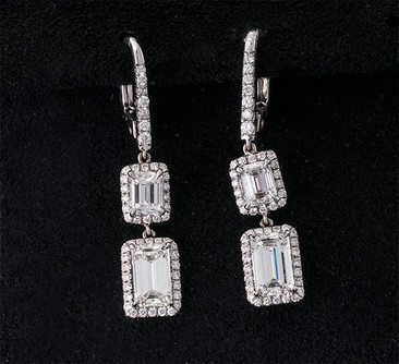 Emerald Cut Diamond Drop Earrings  18K WG (32 x 6.7mm)  2D=1.83cts + 2D=1.04cts + D=0.60cts   ER40790