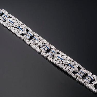 """Art Deco Diamond and Sapphire Bracelet  Platinum (7.5"""" x 19mm)  D=17.00cts app (2D=2.80cts app)   BR40877"""