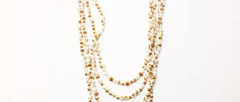 White Amber crystal multi strand necklace N33